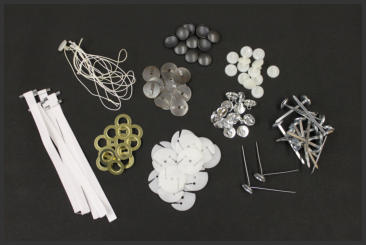 Button Shells, Button Backs, Tufting Straps, Prongs, Pretied Nylon Loops, Grommets